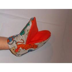 gant pince motif chat vert orange