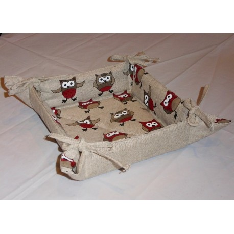 corbeille à pain lin et coton motif chouettes