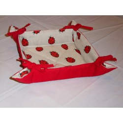 corbeille à pain lin et coton motif coccinelles