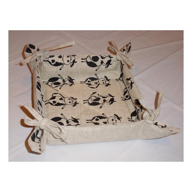corbeille à pain lin et coton motif vaches