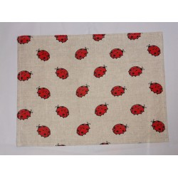 set de table lin et coton motif coccinelles