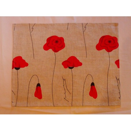 set de table lin et coton motif coquelicots