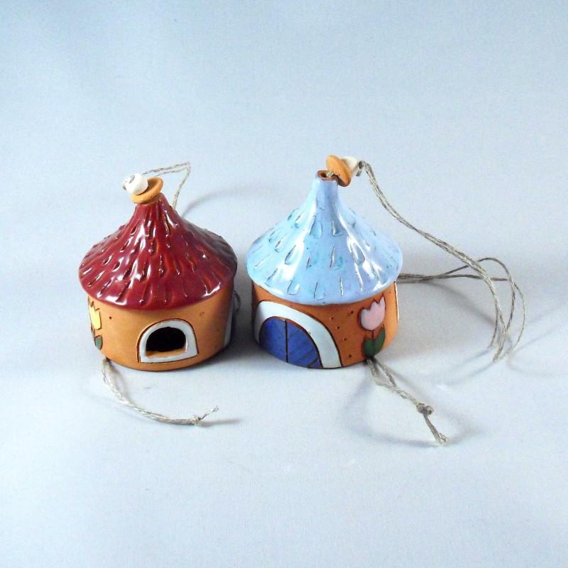 Assortiment clochettes céramiques maisonnettes