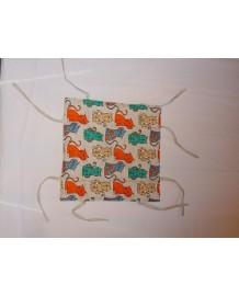 corbeille à pain lin et coton motif chats vert orange