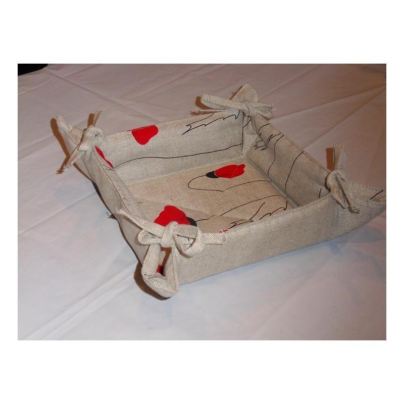 corbeille à pain lin et coton motif coquelicots