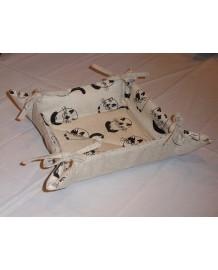 corbeille à pain  lin et coton motif chats ronds