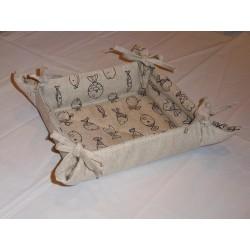 corbeille à pain lin et coton motif poissons