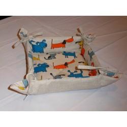 corbeille à pain lin et coton motif chiens colorés