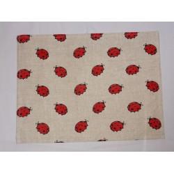 set de table lin et coton motif coccinelles
