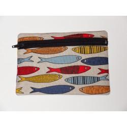 Trousse motifs sardines 55% lin 45% coton