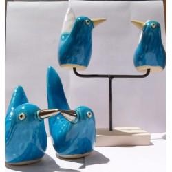 Set de 4 Oiseaux céramique Edith sur socle