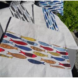 chemin de table motifs sardines 55% lin 45% coton