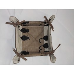 corbeille à pain lin et coton motifs chats de dos
