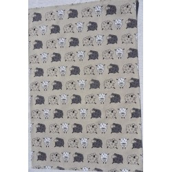 Torchon moutons lin et coton