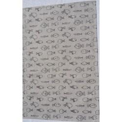 Torchon motif poissons lin et coton