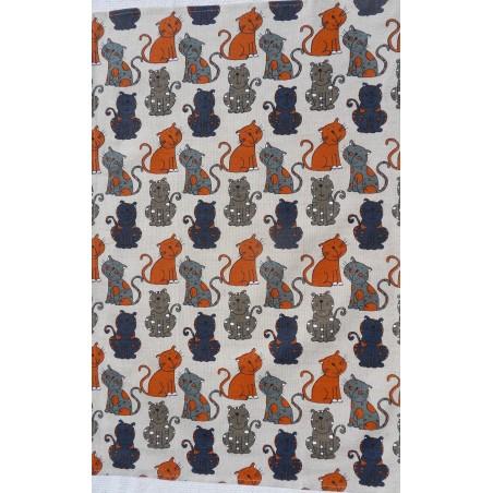 Torchon motif chats gris/bleu lin et coton