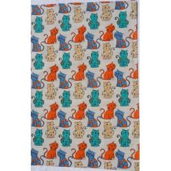 Torchon motif chats vert/orange lin et coton