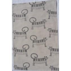 Torchon chats piano lin et coton