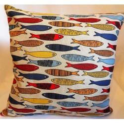 Housse coussin motifs sardines 55% lin 45% coton