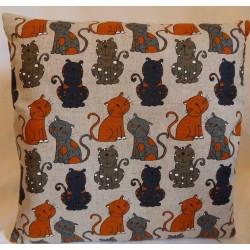 Housse coussin motifs chats 55% lin 45% coton