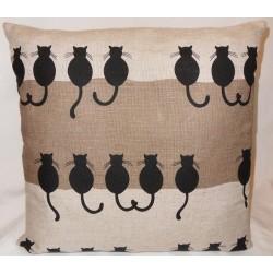 Housse coussin motifs chats de dos 55% lin 45% coton