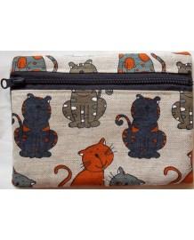 Trousse motifs chats colorés 55% lin 45% coton