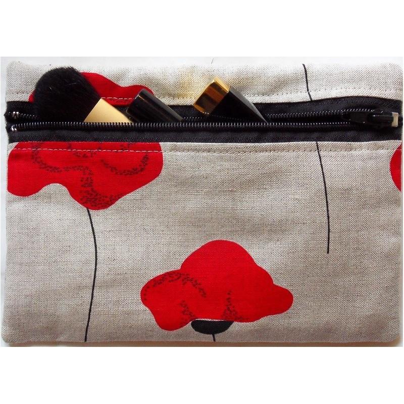 Trousse motifs coquelicots 55% lin 45% coton
