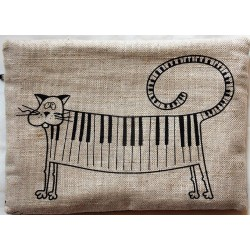 Trousse motifs chat piano 55% lin 45% coton