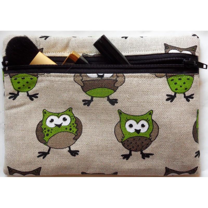 Trousse motifs chouettes 55% lin 45% coton