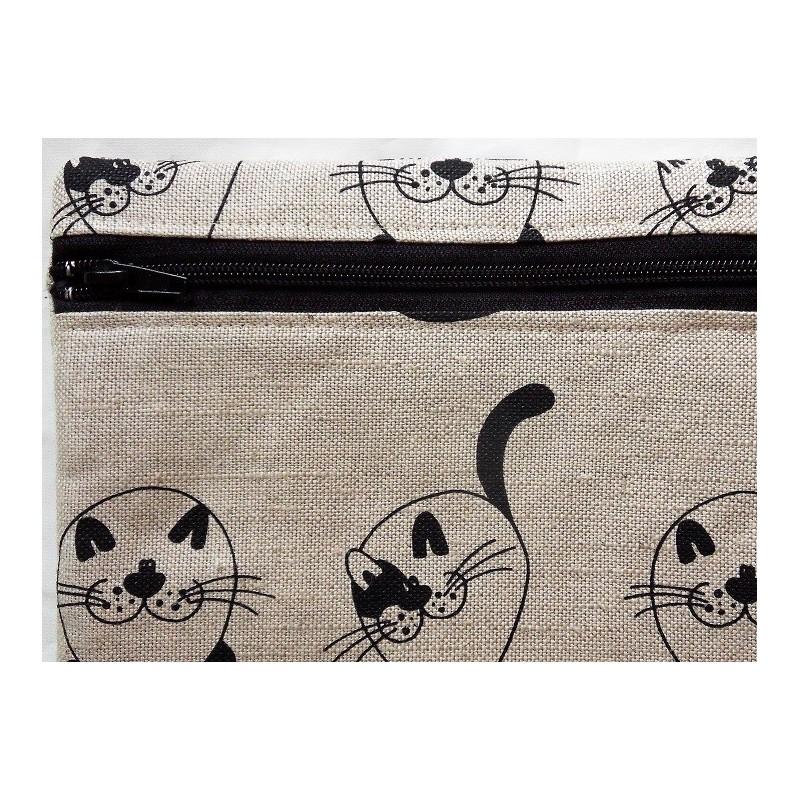 Trousse motifs chats ronds 55% lin 45% coton