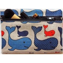 Trousse motifs baleines 55% lin 45% coton