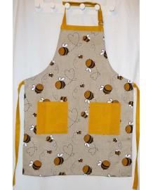 Tablier enfant lin et coton motif abeilles