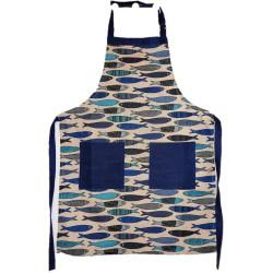 Tablier enfant lin et coton motif sardines