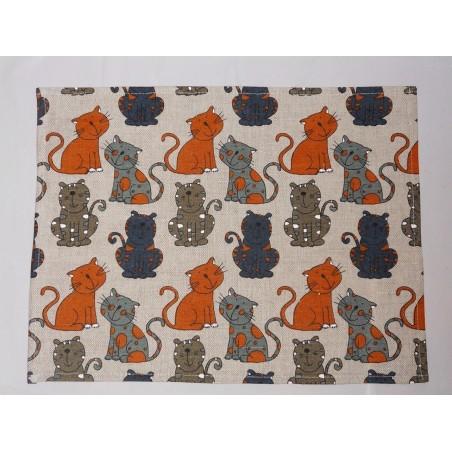 set de table lin et coton motif chats colorés