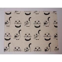 set de table  lin et coton motif chats ronds