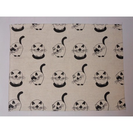 set de table  lin et coton motif chats ronds