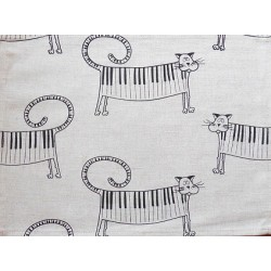 set de table  lin et coton motif chat piano