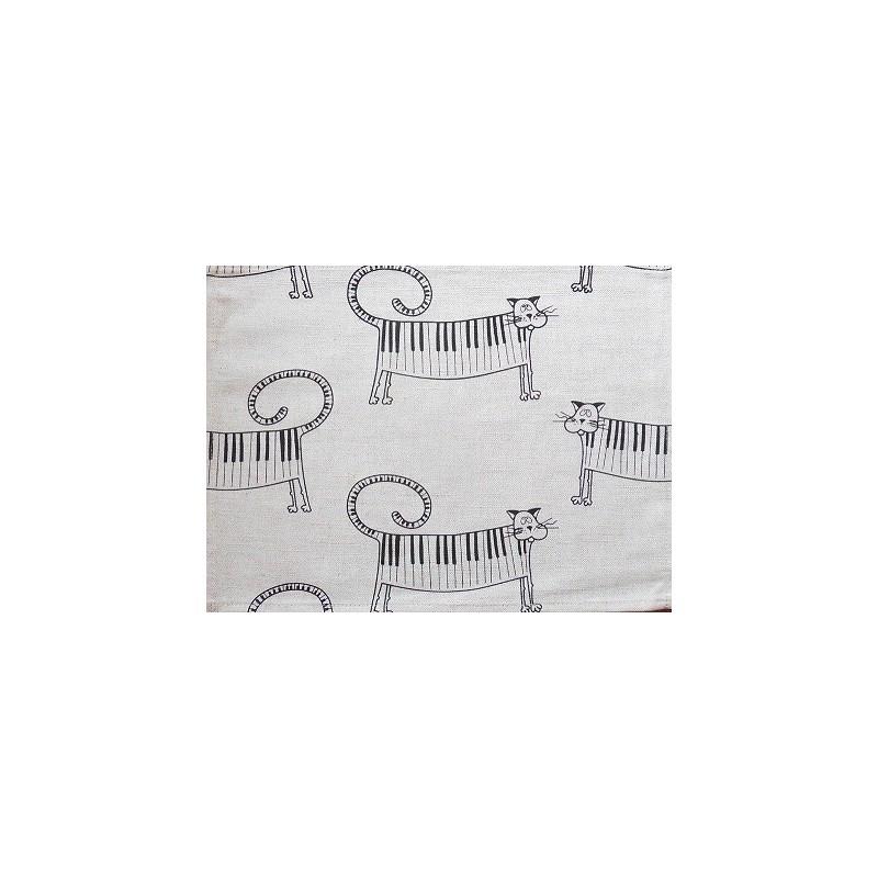 set de table  lin et coton motif chat piano