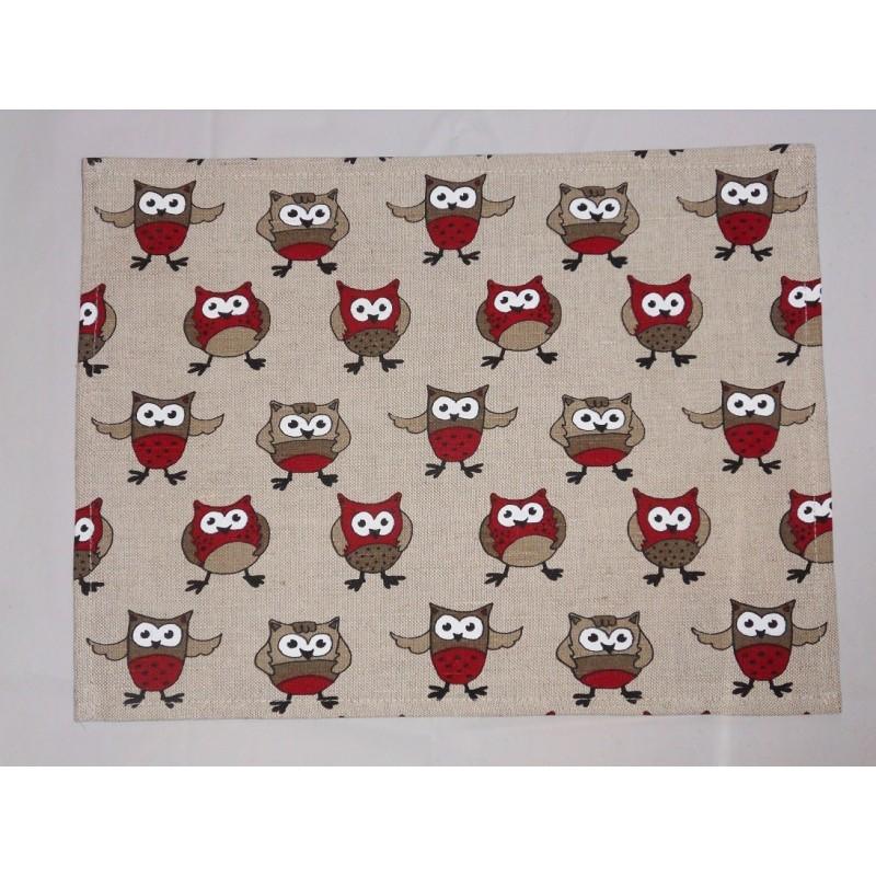 set de table  lin et coton motif chouettes