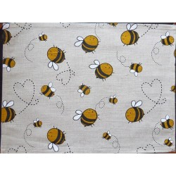 set de table  lin et coton motif abeille