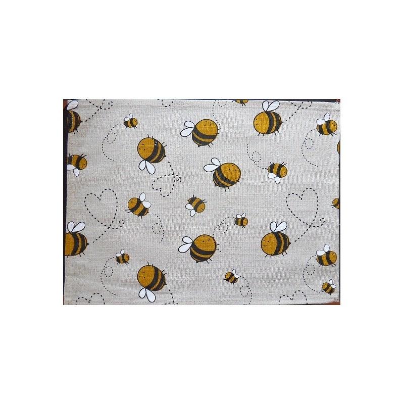 set de table  lin et coton motif abeille