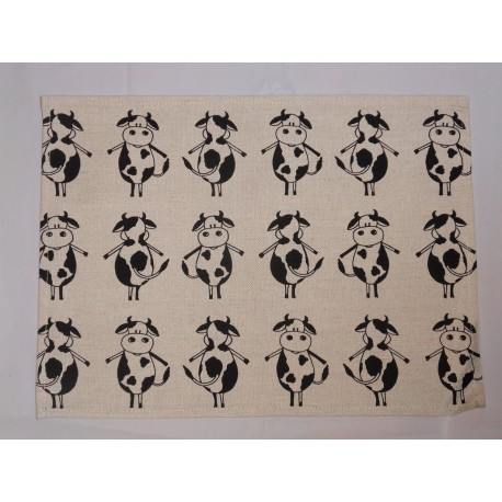 set de table  lin et coton motif vache