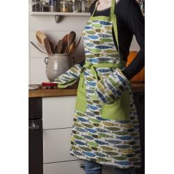 Tablier sardines jaunes vertes bleues lin et coton