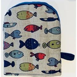 gant pince motif poissons multicolores