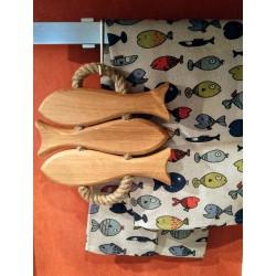 dessous plat 3 poissons bois
