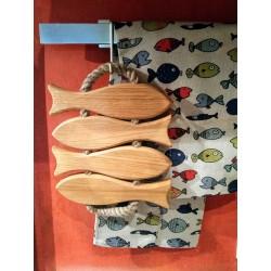 dessous plat 4 poissons bois