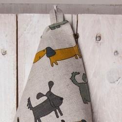 torchon chiens ocre gris bleu lin coton
