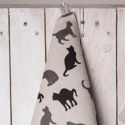 torchon ombres de chats lin coton