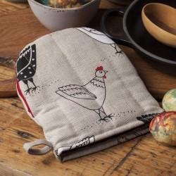 gant pince motif poules