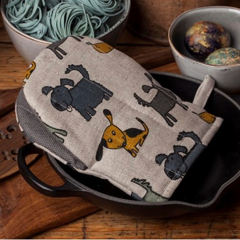 gant pince motif chiens ocre et gris